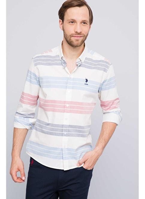 U.S.Polo Assn. Çizgili Slim Fit Uzun Kollu Gömlek Bej